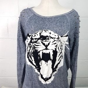 Express Studded Cat Sweatshirt Medium